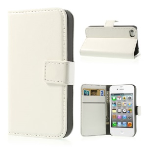 White Crazy Horse Wallet Leather Case Stand for iPhone 4 4s