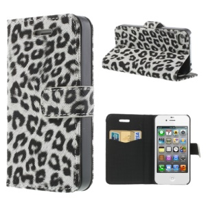 Leopard Card Slot Leather Stand Case for iPhone 4 4S - White