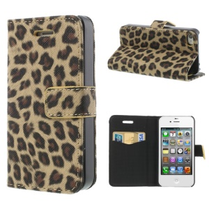 Leopard Card Slot Leather Stand Shell for iPhone 4 4S - Brown