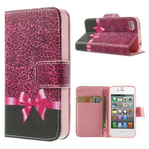 For iPhone 4s 4 Magnetic Rose Leopard & Bowknot Pattern Leather Wallet Stand Cover