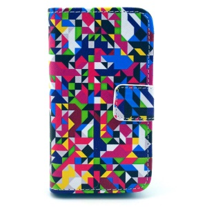 Colorful Seamless Geometric Pattern for iPhone 4S 4 Leather Flip Wallet Cover