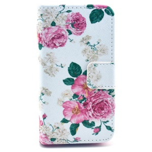Elegant Pink Roses Pattern Flip Leather Wallet Case for iPhone 4S 4 w/ Stand