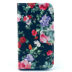 Girly Splendid Flowers Pattern for iPhone 4S 4 Leather Flip Wallet Stand Cover
