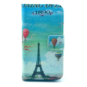 Eiffel Tower & Hydrogen Balloon Pattern for iPhone 4S 4 Leather Wallet Stand Case