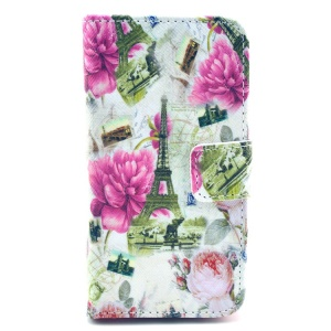 Eiffel Tower & Charming Flowers PU Leather Stand Case Wallet for iPhone 4 4s