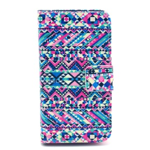 Colorful Tribe Pattern Wallet PU Leather Skin Case w/ Stand for iPhone 4 4s