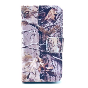 Real Big Tree Stand Leather Wallet Case Accessory for iPhone 4 4s