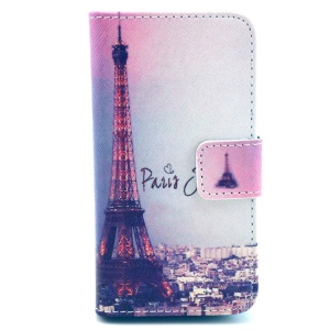 Paris Eiffel Tower Leather Phone Case for iPhone 4 4s w/ Stand & Card Slots
