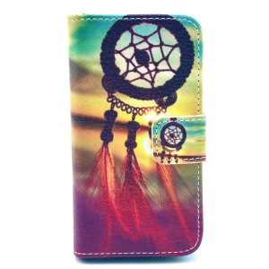 Sunset Dream Catcher Wallet Leather Shell Case with Stand for iPhone 4 4s