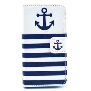 Stripes & Anchor Card Slots PU Leather Case with Stand for iPhone 4 4s
