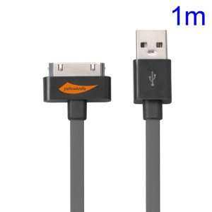 YellowKnife MFi Certified IOS7 1M 30pin USB Sync Charger Noodle Cable for iPhone 4S 4 iPad 2 3 iPod Touch 3 4 - Grey