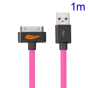 YellowKnife MFi Certified IOS7 1M 30pin USB Sync Charger Noodle Cable for iPhone 4S 4 iPad 2 3 iPod Touch 3 4 - Rose