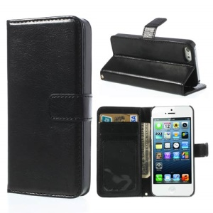Imitation Sheepskin Leather Protective Sleeve Case Cover for iPhone SE 5s 5 - Black