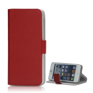 Doormoon Genuine Real Wallet Leather Case for iPhone SE 5s 5 with Stand - Red