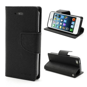 Mercury GOOSPERY Fancy Diary Wallet Style Leather Stand Case Cover for iPhone SE 5s 5 - Black