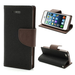 Mercury GOOSPERY Fancy Diary Wallet Style Leather Stand Case Cover for iPhone SE 5s 5 - Brown / Black