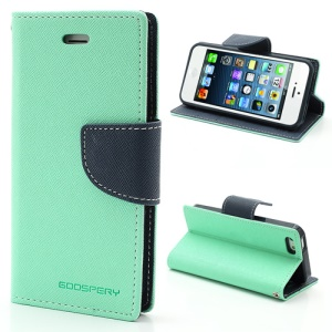 Mercury GOOSPERY Fancy Diary Wallet Style Leather Stand Case Cover for iPhone SE 5s 5 - Dark Blue / Cyan