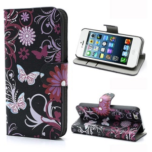 Butterfly & Flower Card Slot Leather Stand Case Shell for iPhone 5 5s
