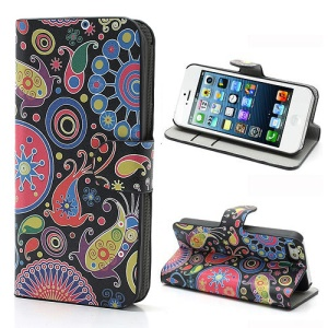 iPhone 5 5s Colorful Flower Ribbon Wallet Leather Stand Case Cover