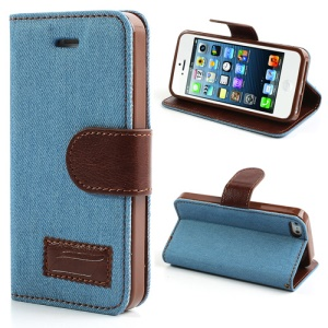 Light Blue Fashion Jeans for iPhone SE 5s 5 Leather Stand Case