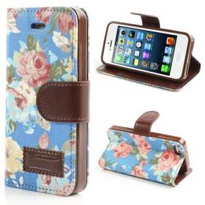 Blue Flower Cloth Leather Card Slot Case for iPhone SE 5s 5