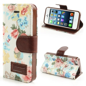 White Flower Cloth Leather Card Slot Cover for iPhone SE 5s 5