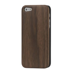 Real Genuine Walnut Wood Wooden Case Cover for iPhone SE 5s 5 - Black Edge