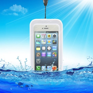 IPX-8 Universal Waterproof Case Cover for iPhone 5 4S 4 + Neck Strap - White
