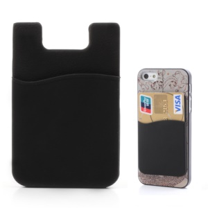 Black Silicone ID Card/ Credit Card Holder Back Adhesive Sticker for iPhone 5 4 4S