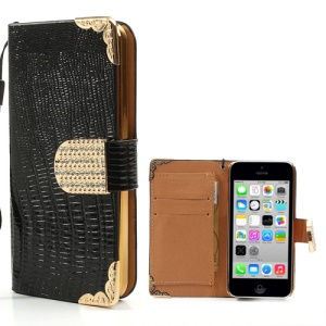 Black Crocodile Leather Wallet Case for iPhone 5c w/ Diamond Magnetic Flap