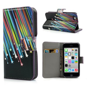 Shooting Star Card Slot Leather Shell w/ Stand for iPhone 5c