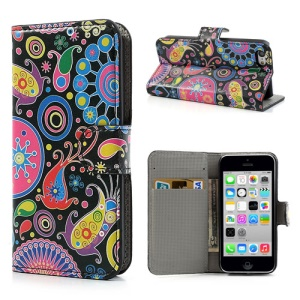Colorful Flower Ribbon Leather Cover Case for iPhone 5c w/ Stand & Wallet