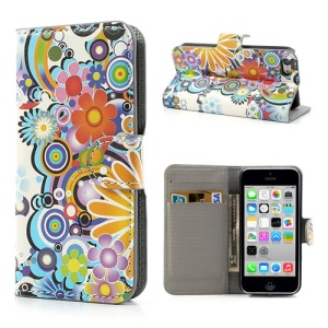 Wallet Leather Folio Case Stand for iPhone 5c Colorful Flowers Pattern