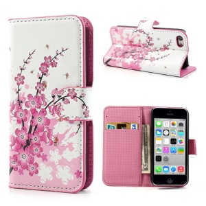 Pink Plum Design for iPhone 5c Wallet Stand Leather Case Accessory