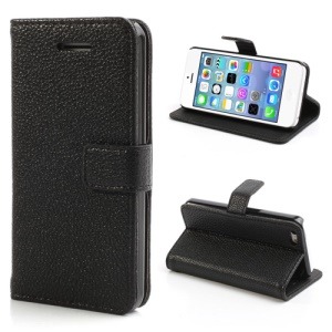 Lychee Textured Card Slots Leather Stand Case Cover for iPhone 5C - Black