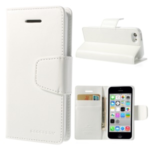 White Mercury Goospery Sonata Wallet Leather Stand Cover for iPhone 5c