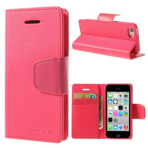 Rose Mercury Goospery Sonata Wallet Leather Case w/ Stand for iPhone 5c