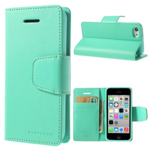 Cyan Mercury Goospery Sonata Stand Leather Wallet Case for iPhone 5c