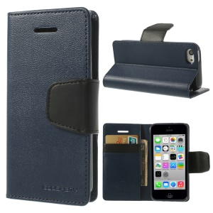 Dark Blue Mercury Goospery Sonata Stand Leather Wallet Cover for iPhone 5c
