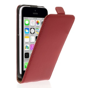 Genuine Split Leather Vertical Flip Shell for iPhone 5c - Red