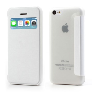 White Slim Window Leather Flip Case for iPhone 5C