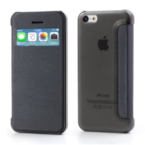 Dark Blue Slim Window Leather Flip Cover for iPhone 5C