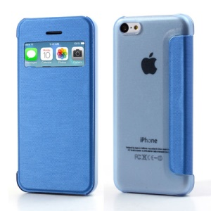 Light Blue Slim Window Leather Flip Cover for iPhone 5C
