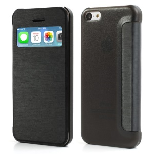 Black Slim Window Leather Flip Case for iPhone 5C