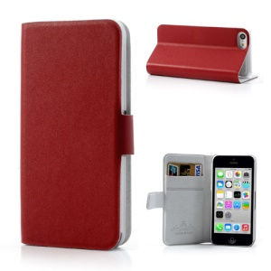 Red Doormoon for iPhone 5c Wallet Genuine Leather Cover with Stand