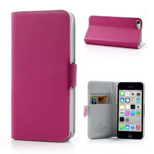 Rose Doormoon for iPhone 5c Wallet Genuine Leather Case with Stand