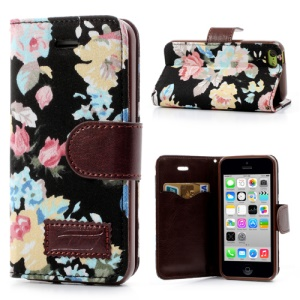 Black Flower Pattern Cloth Leather Card Slot Case for iPhone 5c