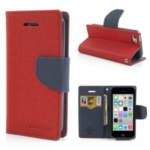 Mercury GOOSPERY Fancy Diary Stand Leather Case Wallet for iPhone 5c - Dark Blue / Red