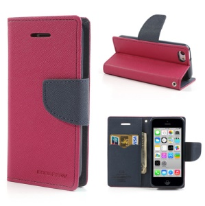 Mercury GOOSPERY Fancy Diary for iPhone 5c Wallet Leather Cover w/ Stand - Dark Blue / Rose