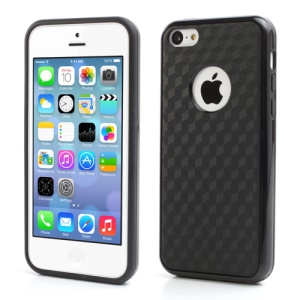 Cool 3D Cube TPU & Plastic Hybrid Case Cover Accessory for iPhone 5C - Black